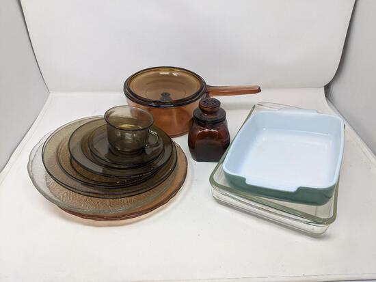 Baking Dishes, Glass Lidded Cook Pot, Amber Glassware