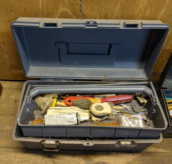 Plastic Tool Box and Contents