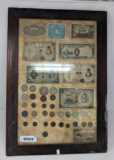 Display Including Various War Time Foreign Coins & Currency