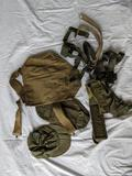 Post WWII & WWII Straps, Gas Mask Bag, Etc.