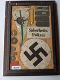 Display of Framed German Shoulder Tabs, Arm Bands, Sports Medals, Medical Badges, Etc.