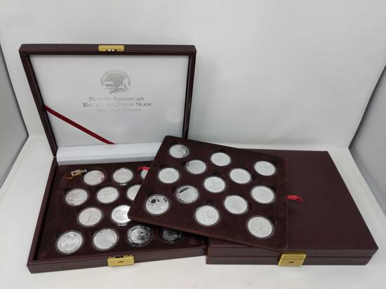 (27) 1 Oz. .999 Silver Coins in Display Case