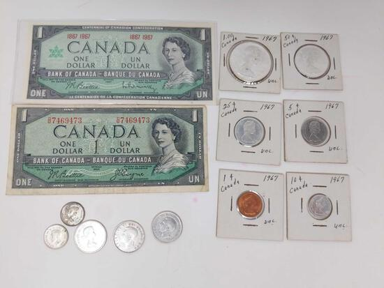 $1 Canadian Notes: 1954 Circ., 1967 Crisp UNC, 1967 BU Year Set, 95 Cents Silver