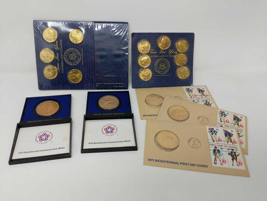 5 Bronze Coins; 12 Brass Coins