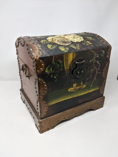 Small Paint Decorated DomeTop Trunk Box