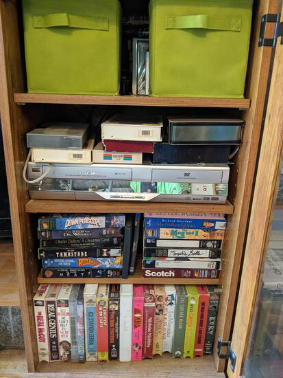Toshiba VCR and Large Collection of CDs and VHS Tapes