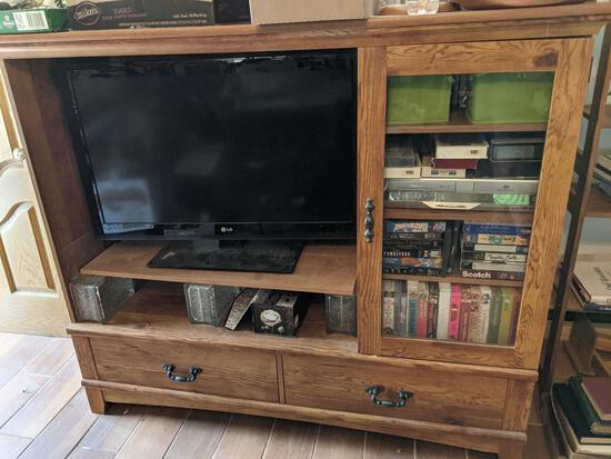 """LG 37"""" Flatscreen Television and Wooden Entertainment Cabinet"""
