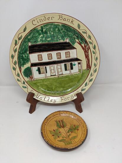 2 Redware Decorated Plates