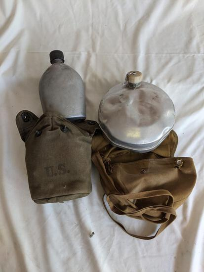 2 Canteens with Army Green Canvas Covers