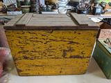 Yellow Painted Wooden Crate with Liner