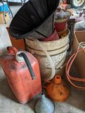 Plastic Gas Can, Funnels, Hoses in 5 Gallon Bucket