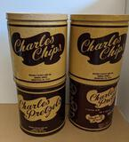 Charles Chips and Charles Pretzels Tins