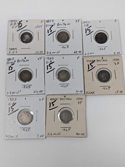 British 3-Pence 1855 VG, 59 VF, 65 F, 69 G, 83 VF, 84 VF-XF, 88 XF X-Jewelry, 92 VG