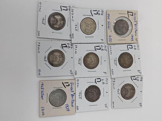 British Shilling 1839, 02, 06 12, 15, (2) 16, 17, 44