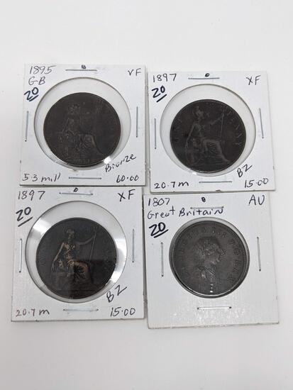 British Pennies 1807 AU, 97 VF, 97 VF, 95 XF