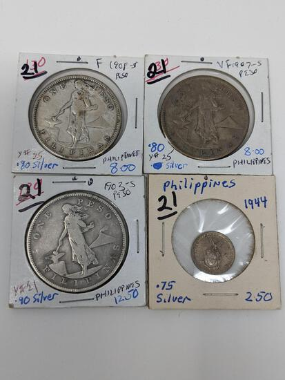 Philippines 1944 10-Cent, 1903S, 07S, 08S, One Peso Silver