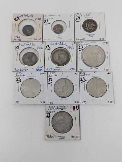 Austria 1862 Florin AU-UNC, 1956, 57, 73 25 Shilling, 1972 50 Shilling;