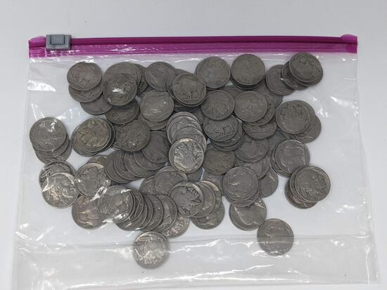 100 Buffalo Nickels, All with Dates, Most Full Dates