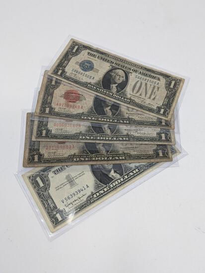 (3) $1 1928 Legal Tender FR 1500; $1 Silver Cert FR 1601; 1957 B Silver Cert FR 1621 G-VG