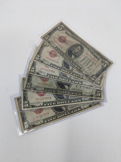 $5 Legal Tender (2) 1928 C FR 1528, (2) 1928 E FR 1530, (2) 1928 F FR 1531, G-F