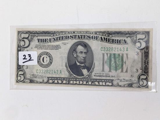$5 1934 FR 1955C Crisp UNC