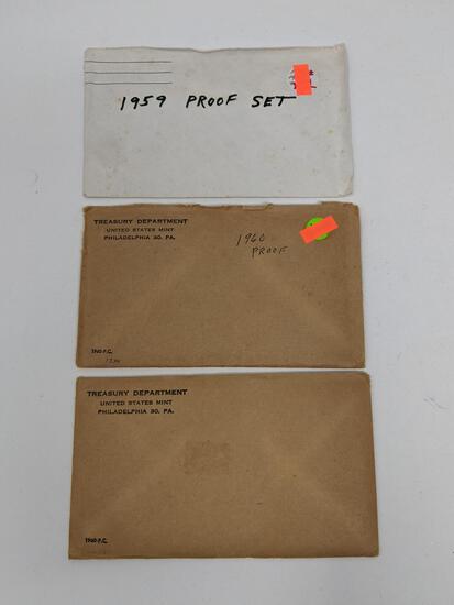 1959 Proof Set, No Envelope and (2) 1960 Proof Sets