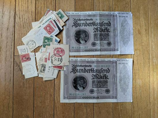 Stamps Lot and Two 10.000 Mark Notes