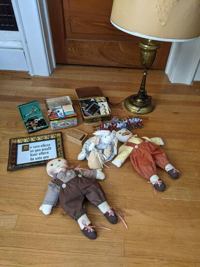 Tins of Sewing Notions, Dolls, Framed Verse, Decorations and Table Lamp