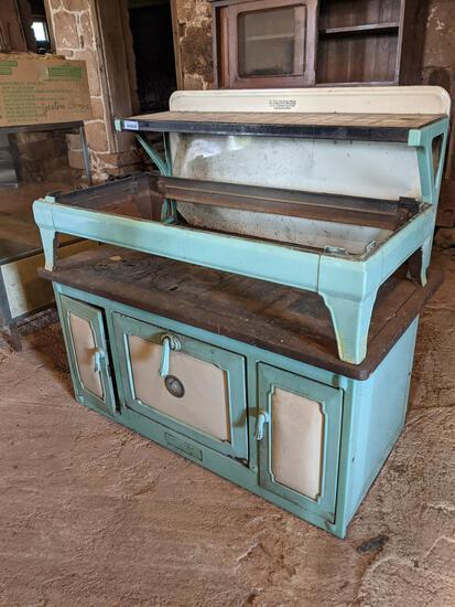 Vintage Turqoise Colored Enameled Kitchen Stove, Liberty Kalamazoo Stove Co.
