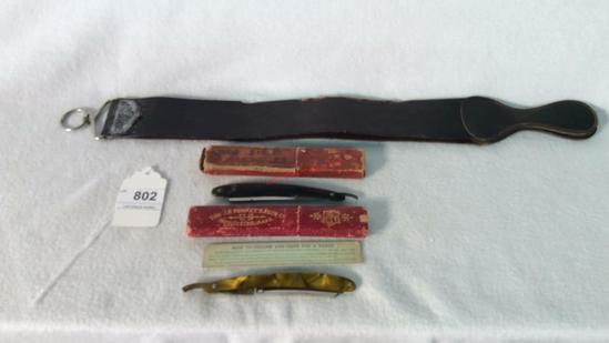 Antique Razors with Razor Strap