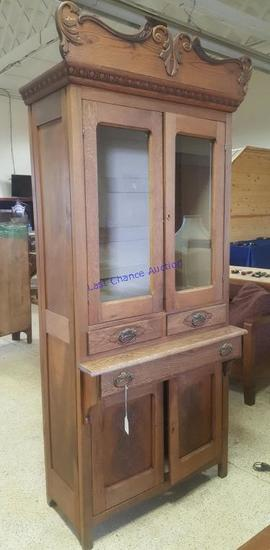 Antique Tall Kitchen Cupboard Cabinet 3 Shelves