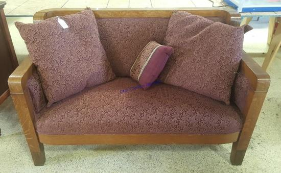 Antique Wood Accented Loveseat