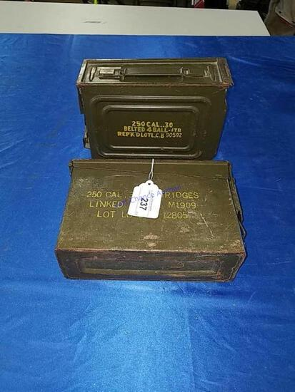 2 Small Ammo Boxes for 250 30cal rounds