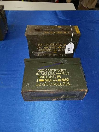 2 Small Ammo Boxes for 200 7.62mm Cartridges