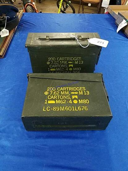 2 Metal MIlitary Ammo Boxes
