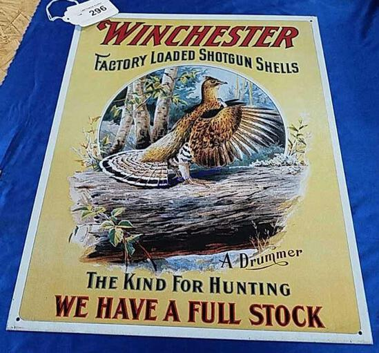 Winchester Drummer Grouse Metal Sign