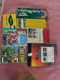 Books, Comics, Cribbage Boards, Yahtzee Cards