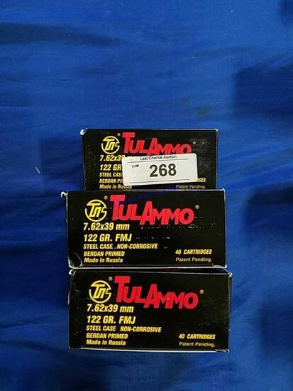 5X-40ct Boxes of Tul Ammo 7.62x39 122gr FMJ