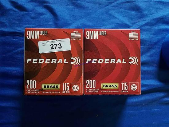 2X-200ct Federal 9mm Luger Brass FMJ RN