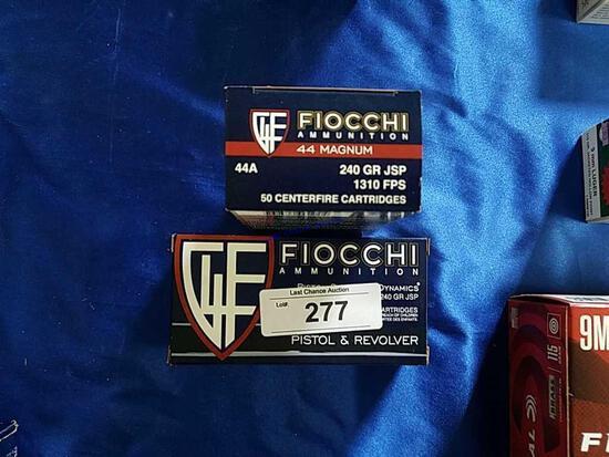 2X-50ct Fiocchi .44mag 240gr JSP