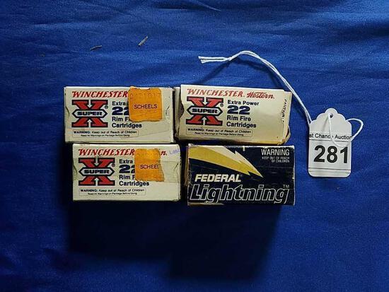 4 Vintage .22 boxes (No UPC) One Money