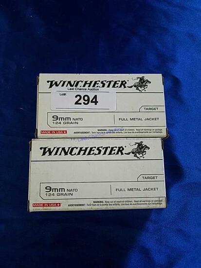 2X-50ct Winchester 9mm NATO 124gr FMJ