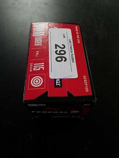 100ct Federal 9mm 115gr FMJ
