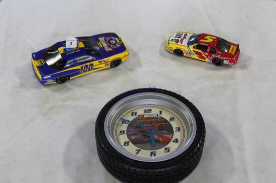 Nascar Clock with Terry Labonte Car and Cards