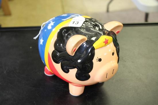Ceramic Wonder Woman Piggy Bank