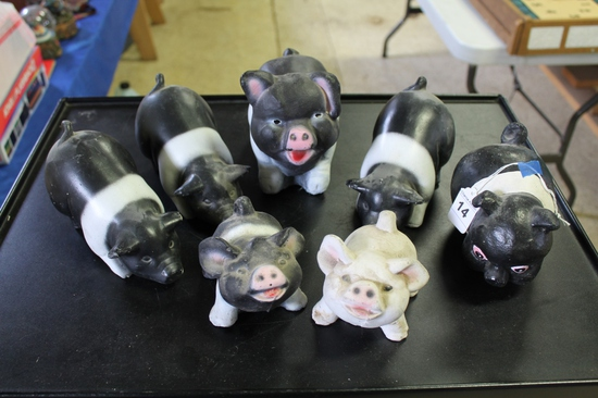 Lot of 7 Small Concrete Black and White Pigs