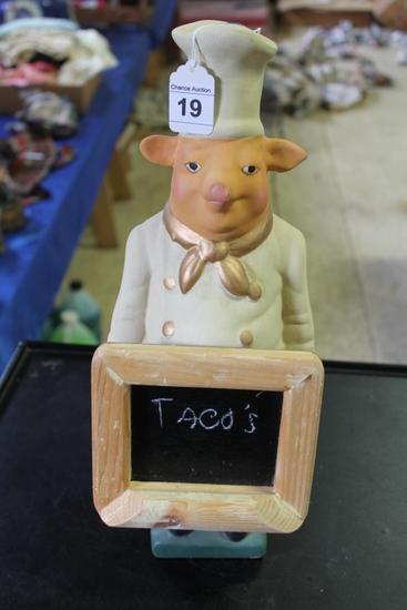 Pig Chef with Chalk Menu Board
