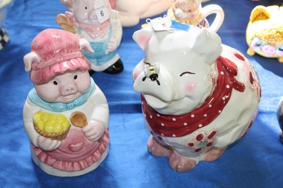 2X-Ceramic Pig Cookie Jars