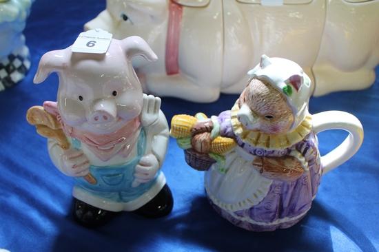 2X-Ceramic Pigs One Cookie Jar One Tea Pot