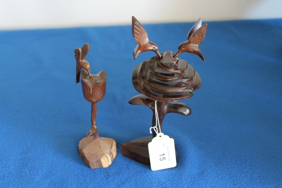 """Pair of Ironwood Hummingbird Sculptures 10"""""""